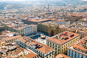 View over Florence from the Duomo, UNESCO World Heritage Site, Florence (Firenze), Tuscany, Italy, Europe