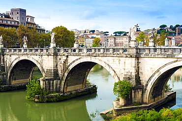 Ponte Sant'Angelo, river Tiber, Unesco World Heritage Site, Rome, Latium, Italy, Europe