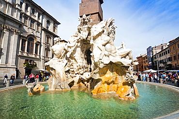 Fontana dei Quattro Fiumi, Piazza Navona, Rome, Unesco World Heritage Site, Latium, Italy, Europe