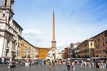 Fontana dei Quattro Fiumi, topped by the Obelisk of Domitian, Piazza Navona, Rome, Lazio, Italy, Europe