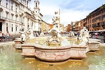 The Moor Fountain (Fontana del Moro), Piazza Navona, Rome, Unesco World Heritage Site, Latium, Italy, Europe