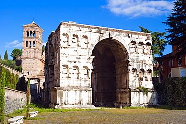 Quadrifrons triumphal arch of Janus, Belltower of San Giorgio in Velabro's church, Rome, UNESCO World Heritage Site, Lazio, Italy, Europe