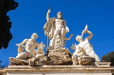 Fontana del Nettuno (Neptune's fountain), Piazza del Popolo, Rome, Lazio, Italy, Europe