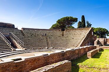 Theater, Ostia Antica archaeological site, Ostia, Rome province, Lazio, Italy, Europe