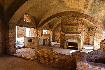 Thermopolium (Roman bar for hot food and drink), Ostia Antica archaeological site, Ostia, Rome province, Lazio, Italy, Europe