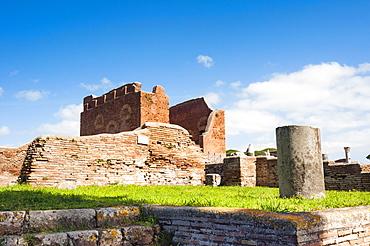 The Curia and Capitolium behind, Ostia Antica archaeological site, Ostia, Rome province, Lazio, Italy, Europe