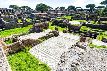 Mosaic, Block of Bacchus and Arianna, Ostia Antica archaeological site, Ostia, Rome province, Lazio, Italy, Europe