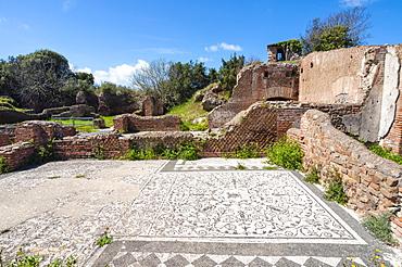 Mosaic of Medusa, Block of Bacchus and Arianna, Ostia Antica archaeological site, Ostia, Rome province, Lazio, Italy, Europe