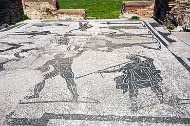 Mosaics, Terme di Porta Marina, Ostia Antica archaeological site, Ostia, Rome province, Lazio, Italy, Europe