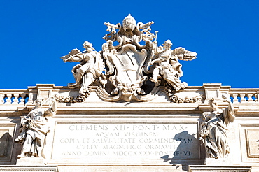 Top of Trevi Fountain, UNESCO World Heritage Site, Rome, Lazio, Italy, Europe