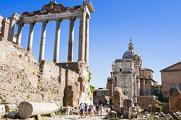 Temple of Saturn, Roman Forum, UNESCO World Heritage Site, Rome, Lazio, Italy, Europepe