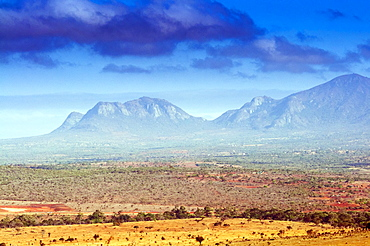 Kudu Point, Savannah and Taita Hills behind, Kenya, East Africa, Africa