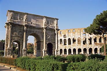 The Colosseum and Arch of Constantine, Rome, Lazio, Italy, Europe