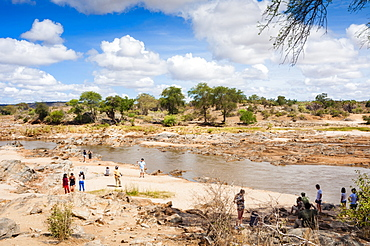 Tourists at Galana River, Tsavo East National Park, Kenya, East Africa, Africa