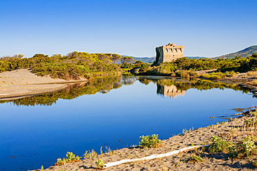 Torre di Buranaccio, Burano lake, and channel to Tyrrhenian sea, Capalbio, Province of Grosseto, Tuscany, Italy