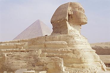 The Sphinx and Chephren pyramid beyond, Giza, UNESCO World Heritage Site, near Cairo, Egypt, North Africa, Africa