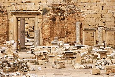 Septimius Severus (Septimus Severus) Forum, Leptis Magna, UNESCO World Heritage Site, Tripolitania, Libya, North Africa, Africa