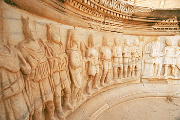 High reliefs, The Theatre, Sabrata (Sabratha), UNESCO World Heritage Site, Tripolitania, Libya, North Africa, Africa