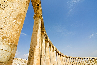 Oval Plaza with colonnade and Ionic columns, Jerash (Gerasa) a Roman Decapolis city, Jordan, Middle East