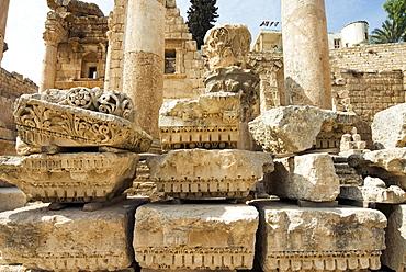 Capitals and ruins in North Colonnaded Street, Jerash (Gerasa), a Roman Decapolis City, Jordan, Middle East