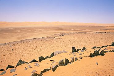 Pre-islamic settlement, Messak Mellet, Southwest Desert, Libya, North Africa, Africa