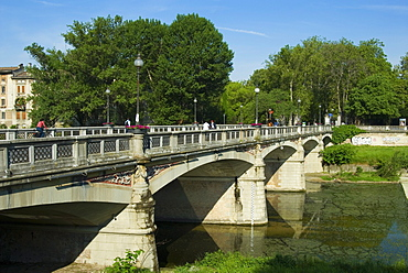 Giuseppe Verdi Bridge and Parma Creek, Parma, Emilia Romagna, Italy, Europe