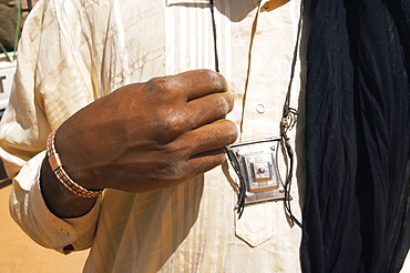 Tuareg gri-gri amulet, southwest area, Libya, North Africa, Africa