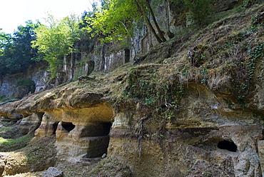 The Sopraripa Necropolis, Etruscan Necropolis of Sovana, Sovana, Grosseto, Tuscany, Italy, Europe