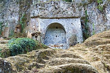 The Tomb of the Mermaid, The Sopraripa Necropolis, Etruscan Necropolis of Sovana, Sovana, Grosseto, Tuscany, Italy, Europe