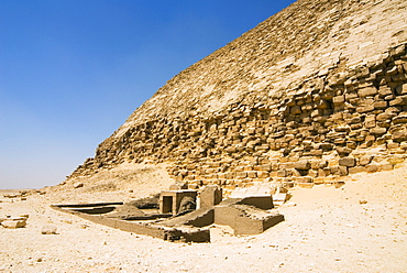 Remains of Greek-Roman Temples at The Bent Pyramid at Dahshur, UNESCO World Heritage Site, near Cairo, Egypt, North Africa, Africa