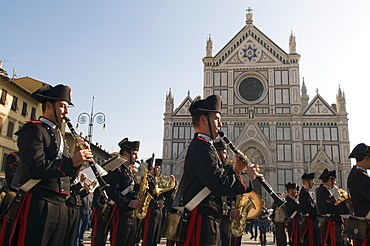 Carabinieri's band in Santa Croce Square, Florence (Firenze), Tuscany, Italy, Europe