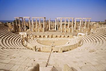 The theatre, Leptis Magna, UNESCO World Heritage Site, Libya, North Africa, Africa