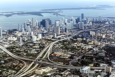Aerial view of Miami, Florida, United States of America, North America