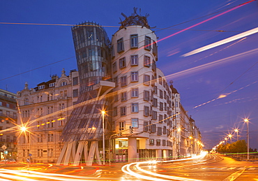 Dancing House (Ginger and Fred) by Frank Gehry, at night, Prague, Czech Republic, Europe