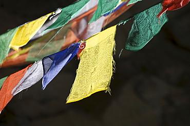 Buddhist prayer flags, Taktshang Goemba Monastery, Paro, Bhutan, Asia