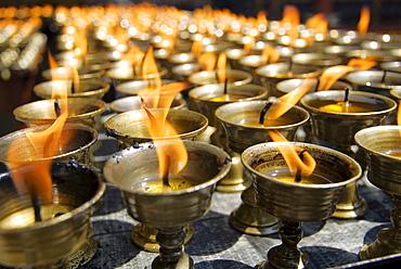 Prayer candles, Nanwu Temple, Kangding, Sichuan, China, Asia