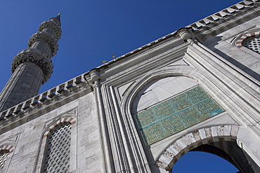 Entrance to the courtyard, with minaret, Blue Mosque, Istanbul, Turkey, Western Asia
