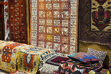 Traditional rugs for sale, Grand Bazaar, Istanbul, Turkey, Western Asia