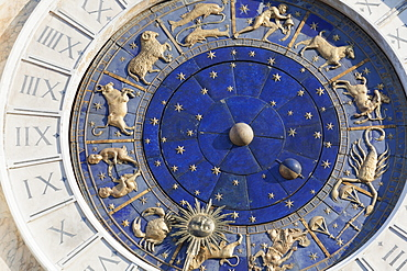 Detail of clock on the Torre dell' Orologio in St. Mark's Square, Venice, UNESCO World Heritage Site, Veneto, Italy, Europe