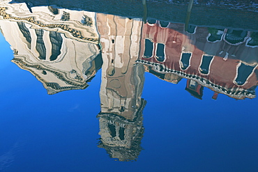 Reflection of San Trovaso church in a still canal in the Dorsoduro area, Venice, UNESCO World Heritage Site, Veneto, Italy, Europe
