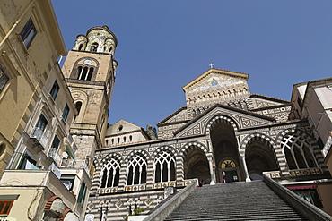 Steps up to the Duomo Cattedrale Sant' Andrea in Amalfi, Amalfi Coast (Costiera Amalfitana), UNESCO World Heritage Site, Campania, Italy, Mediterranean, Europe