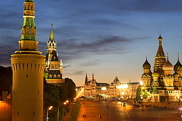 The Kremlin, Gum department store and the onion domes of St. Basil's Cathedral in Red Square illuminated at night, UNESCO World Heritage Site, Moscow, Russia, Europe