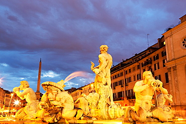 Fontana del Moro in Piazza Navona at night, Rome, Lazio, Italy, Europe