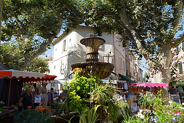 Traditional open air market in the historic town of Cassis, Cote d'Azur, Provence, France, Europe