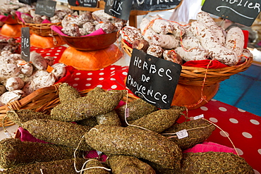 Traditional sausages for sale in an open air market in the historic town of Cassis, Provence, France, Europe