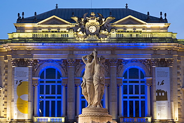 The Three Graces fountain and the Opera in Place de la Comedie in the city of Montpellier at night, Languedoc-Roussillon, France, Europe