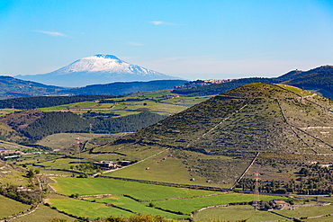 The Sicilian landscape with the awe inspiring Mount Etna, UNESCO World Heritage Site and Europe's tallest active volcano, Sicily, Italy, Europe