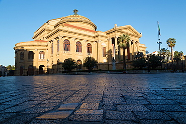 Morning light on Teatro Massimo, one of the largest opera houses in Europe, Palermo, Sicily, Italy, Europe