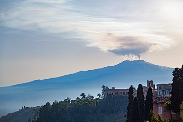 The awe inspiring Mount Etna, UNESCO World Heritage Site and Europe's tallest active volcano, seen from Taormina, Sicily, Italy, Mediterranean, Europe