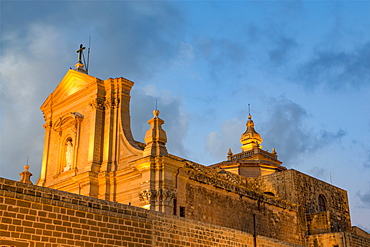 The Catedral de Rabat at night in the ancient citadel of Victoria (Rabat) in the heart of Gozo, Malta, Mediterranean, Europe